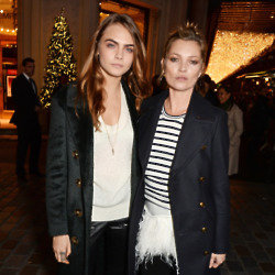 Cara Delevingne and Kate Moss at the Burberry Christmas windows launch