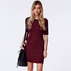 Missguided Carolina Binded Bodycon Dress in Oxblood