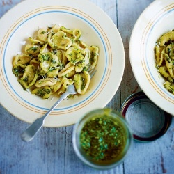 Pasta Recipes: Fresh Orecchiette Pasta with Classic Pesto
