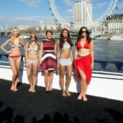 Coleen Rooney took to the River Thames to launch her latest collection