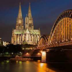 Picturesque Cologne at night time
