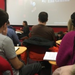 Ella Griffith talks to students about breaking the industry
