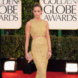 Emily Blunt added an embellished box clutch to her Michael Kors gown