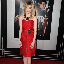 Emma Stone looks ravishing in red Lanvin