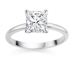 Princess Cut 0.50 Carat D/VVS1 18k White Gold Diamond Engagement Ring
