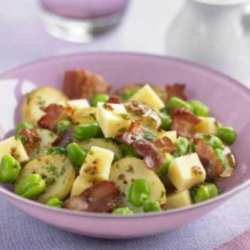 Warm Broad Bean, Edam and Pancetta Salad