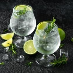 Gin & Tonic with lime, rosemary and ice on rustic looking table (iStock/PA)