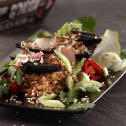 Healthy Recipes: Soy Blackened Mackerel with Black Bean Risotto