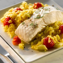 Summer Recipe: Halibut with Saffron Rice
