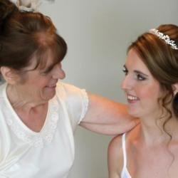Helen and her mum on her wedding day