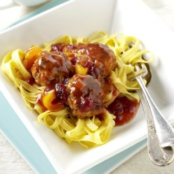 Herby Pork Meatballs with Cranberry Gravy Recipe