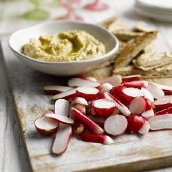 Toasted Garlic Hummus with Radishes and Pitta Bread