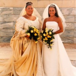 Sarah with her sister on their joint wedding day