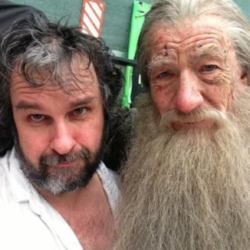 Peter Jackson (Director) and Sir Ian McKellen (Actor) in Character as Gandalf on the set of The Hobbit.