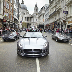 Two of the most famous E-Types escorting the all-new F-TYPE at the Lord Mayor's Show