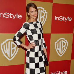 Jessica Alba wears the Louis Vuitton chequered monochrome dress
