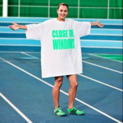 Jessica Ennis wearing her big tee