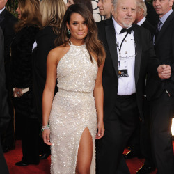 Lea Michele chose a white Elie Saab gown for the Golden Globes