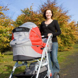 Walking is great exercise for you and could be soothing for your baby