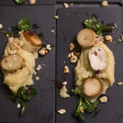 Mushroom Scallops with Apple and Parsnip Mash and Toasted Hazelnuts