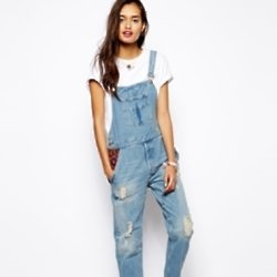 Native Rose Patchwork Dungarees in Vintage Wash available at ASOS