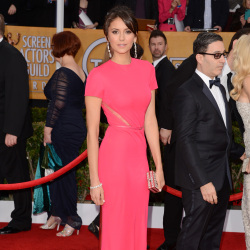 Nina Dobrev looks beautiful in her pink gown