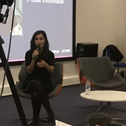Nina Hossain speaks to an audience at Leeds Trinity Journalism and Media Week