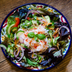 Noodle Salad With A Spicy Vinaigrette Dressing