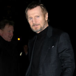 Liam Neeson outside The Late Show / Photo Credit: NYKC/Famous