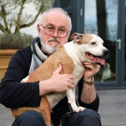 Peter Egan with his rescue dog Megan (Credit: Maria Slough Photography)