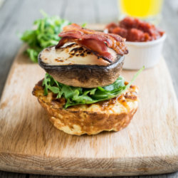 Portobello Mushroom and Potato Cake with Bacon Stack topped with Tomato Relish & Mozzarella
