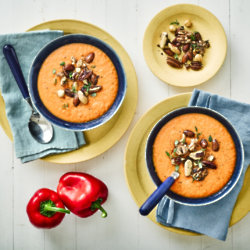 Vegan Red Pepper And Lentil Soup With Roasted Rosemary Nuts