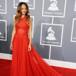 Rihanna looked stunning in her red gown