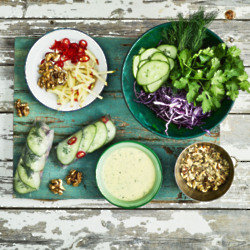 Red Cabbage, Apple And California Walnut Rice Paper Rolls