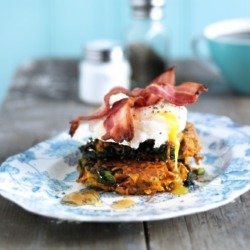 Sweet Potato & Kale Rosti With Poached Egg & Agave Bacon