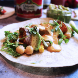Sweet Potato Tacos With Chipotle Tahini Topper