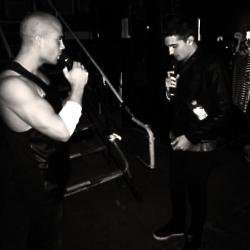 Max George & Tom Parker backstage / Credit: Twitter @thewanted