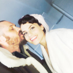 Tom Hardy kissing his wife Charlotte