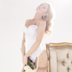 Abbey Clancy looks stunning in the Ultimo bridal collection