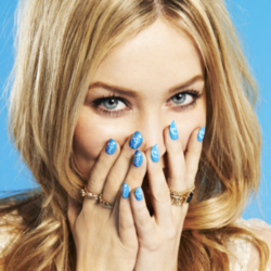 Laura Whitmore shows off her nail art (Dean Chalkley for WaterAid)