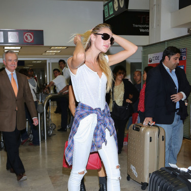 Candice Swanepoel opts for sturdy yet trendy luggage