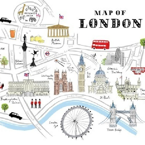 Map Of London Print – Map of London Landmarks