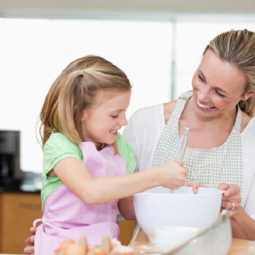 Mother and child cooking 1