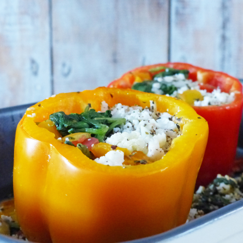Stuffed Pepper with Cauliflower Rice and Lemon